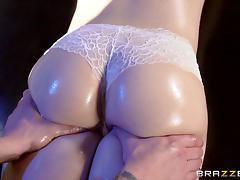 superb brunette sucks her masseurs cock