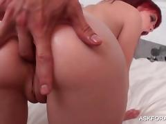 Naked slut takes hard cock in ass and cunt in POV