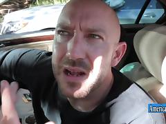 Cheerleader Alex Tanner washed the car and swallows the cock