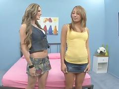 Bombshell friends give it a try only to discover their prowess in lesbian action tube porn video