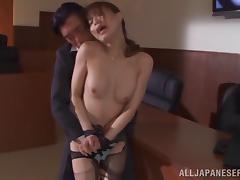 Cute Asian honey getting her hairy pussy drilled wildly