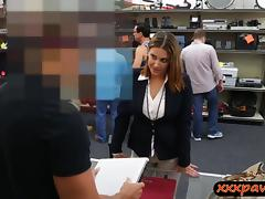 Business woman fucked at the pawnshop for a plane ticket tube porn video