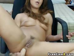 Hot Teen Brunette Fingers her Tight Cunt