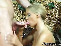 Blonde Babe Wearing Stockings Loves Sex