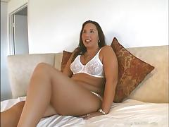 Brilliant solo model chubby with long hair fingering her shaved pussy is homemade porn