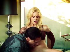 Blonde milf jumps on a weiner after sucking it with passion