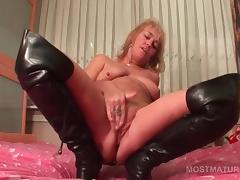 Bed, Bed, Boots, Granny, Leather, Mature