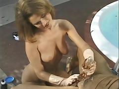 Hottie uses gloves to give handjob outdoors tube porn video