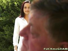 Fat old Grandpa With his Teenage GF tube porn video