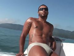 Matheus & Alan on a boat