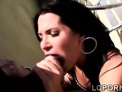 Horny Spanish girl blows huge black cock in the balcony