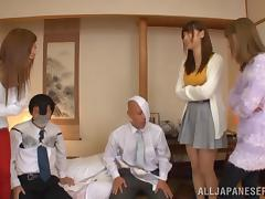 A business meeting turns into a full blown Asian orgy
