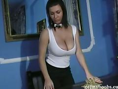 Classy Brunette With Natural Tits Masturbates With Toys