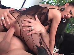 Brunette cutie Mela wearing bodystocking enjoys riding a cock