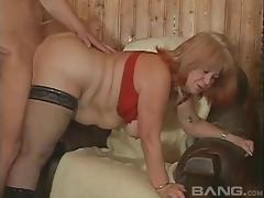 Doggystyle for a chubby granny Jan with a young stud