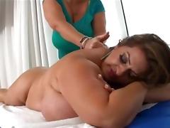 Two fat chicks in a lesbian video involving a strapon tube porn video