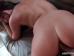 POV anal sex scene with sexy horny brunette