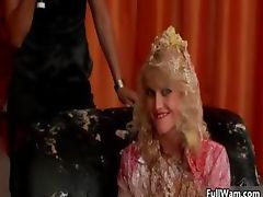 Sexy blonde Euro babe gets a cake part5
