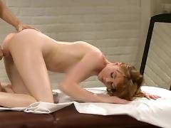 Redhead Marie McCray oiled massage and sweet sex tube porn video