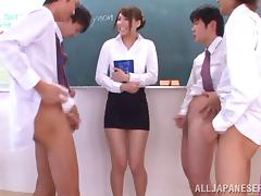 Lewd Asian teacher gets gang banged by her colleagues in the classroom