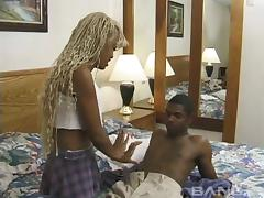 Skinny ebony amateur enjoys riding a big black cock in bed