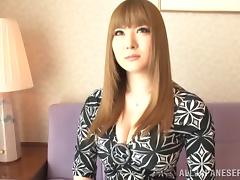 Fake tits are foxy on this Japanese hottie sucking a dick