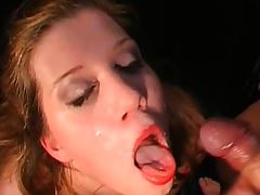 girl opens mouth for cum in orgy