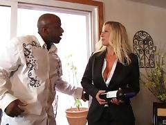 A black guy has some wine with a white girl and pounds her pussy