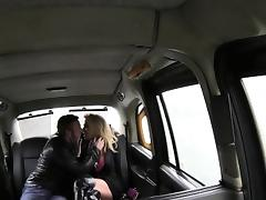 Busty girlfriend bangs in fake taxi on the back seat tube porn video