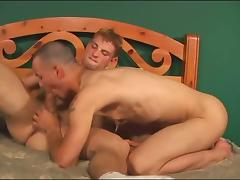 Chick with strap-on and two gay dudes porn tube video