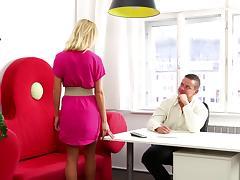 Watch an office affair between a hot blonde and her boss