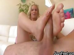 Really naughty blonde plays with feet