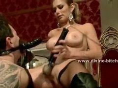 Two submissive men are made to lick Mistress boots after having their asses toyed with tube porn video