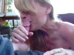 Crazy hot blonde MILF makes BJ vid.