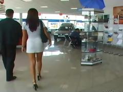 Beautiful redhead gets a discount on a new car with her asshole