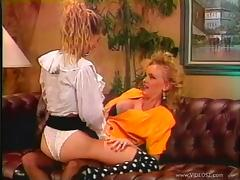 Two fair-haired lesbians share a double dildo in retro sex video porn tube video