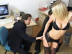Blond hottie wearing lingerie satisfies two men in an office