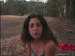 Divine Brunette Giving A Huge Dick Blowjob Outdoor