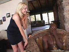 Endearing Blonde In High Heels Getting Her Anal Drilled With A Big Black Cock