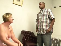 Plump short haired mature feasts her pussy and mouth on black cock