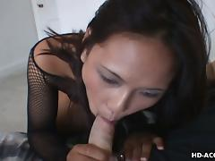 An excellent blowjob from Asian girl in lingerie feels amazing