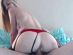 hot blonde in lingerie giving head