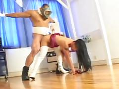 Sexy brunette asian babe gets rough fucked by hunk