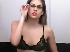 My slim GF in glasses just can't live out of masturbating for me
