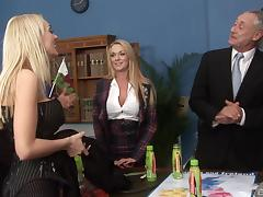 Group sex at work with classy secretaries in stockings