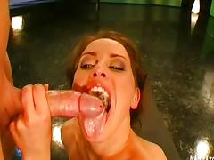 Brunette jerking off and fills mouth with cum tube porn video