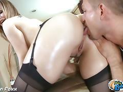 Cutie blonde Tara Lynn Foxx gets her ass licked tube porn video