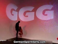 German redhead girl sucking a big black