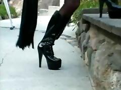 Big tits tranny gives a lesson on BDSM to a guy who jacks off