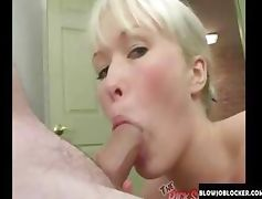Cute girl with blonde hair gags on a hard fat cock tube porn video